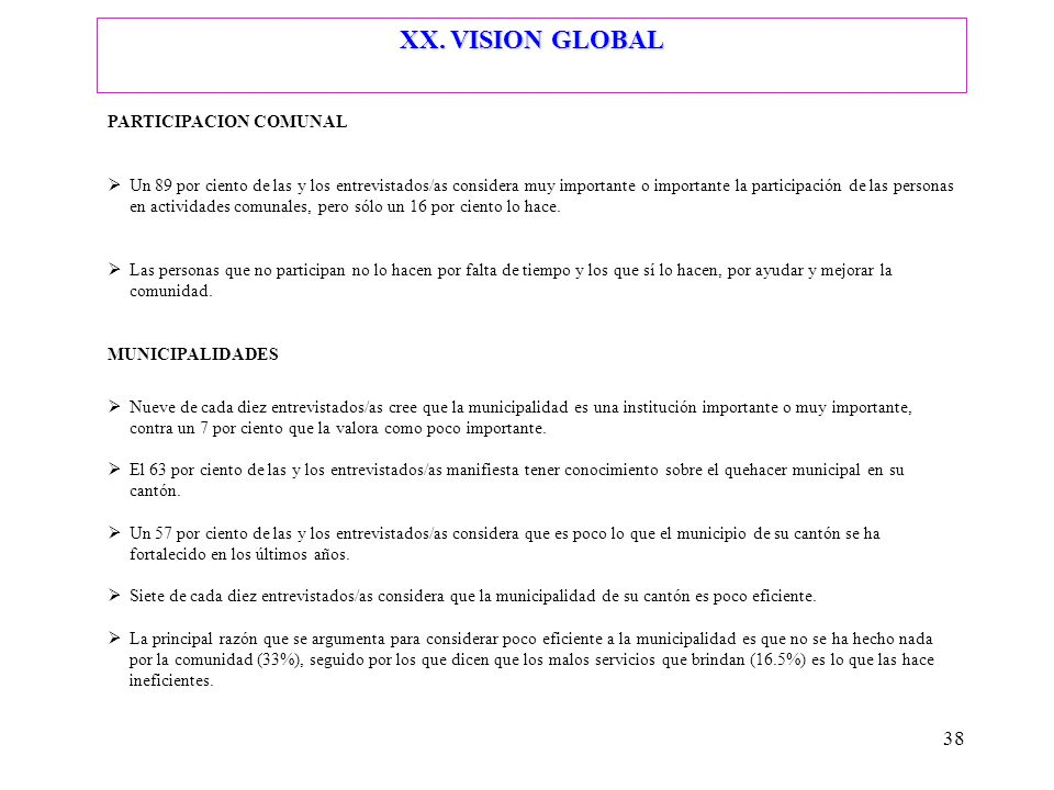 XX. VISION GLOBAL PARTICIPACION COMUNAL