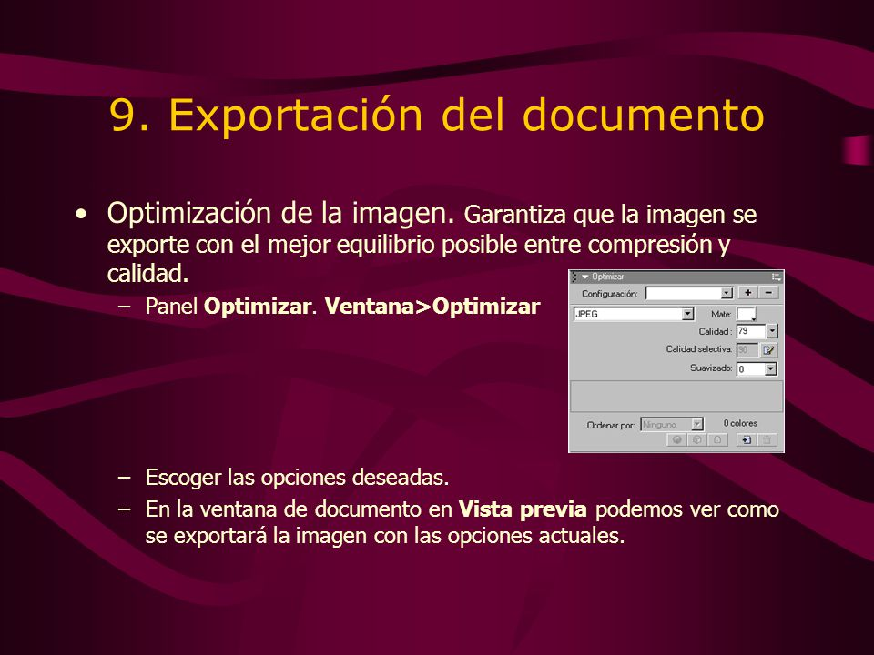 9. Exportación del documento