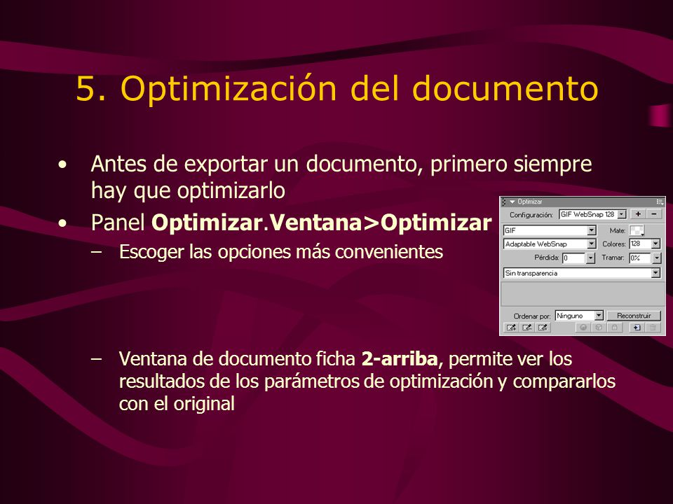 5. Optimización del documento