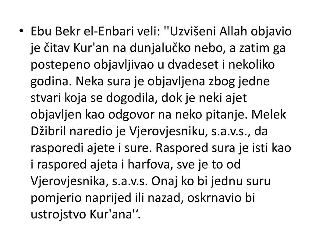 što Kuran govori o datiranju