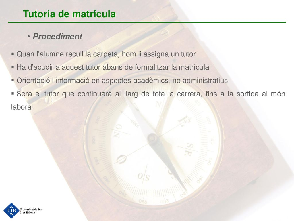 Tutoria de matrícula Procediment