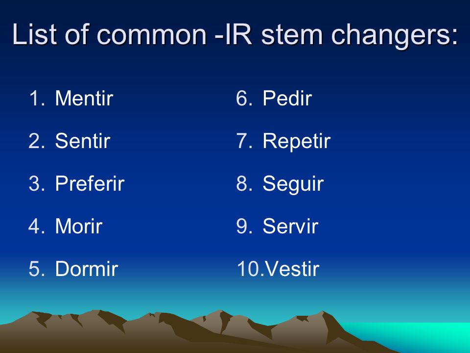 List of common -IR stem changers: