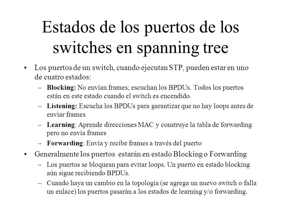 Estados de los puertos de los switches en spanning tree