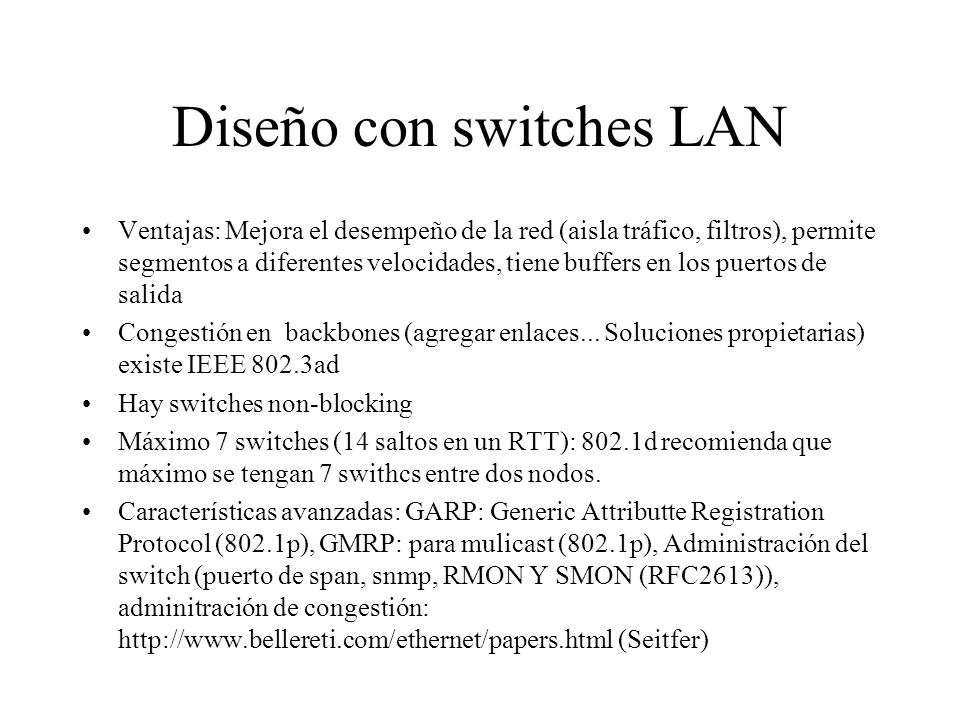 Diseño con switches LAN