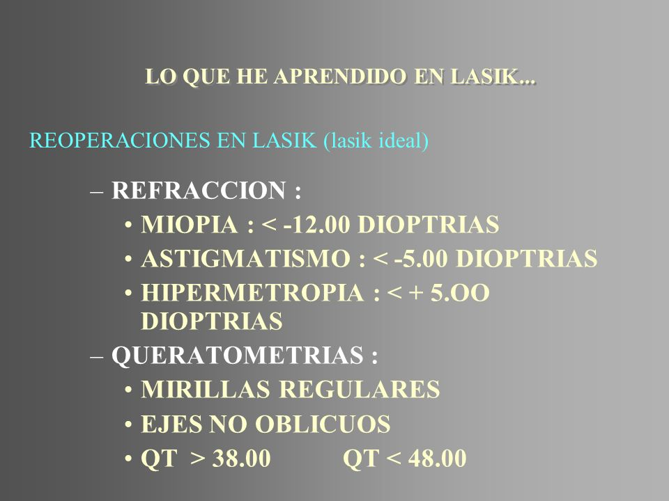 REOPERACIONES EN LASIK (lasik ideal)