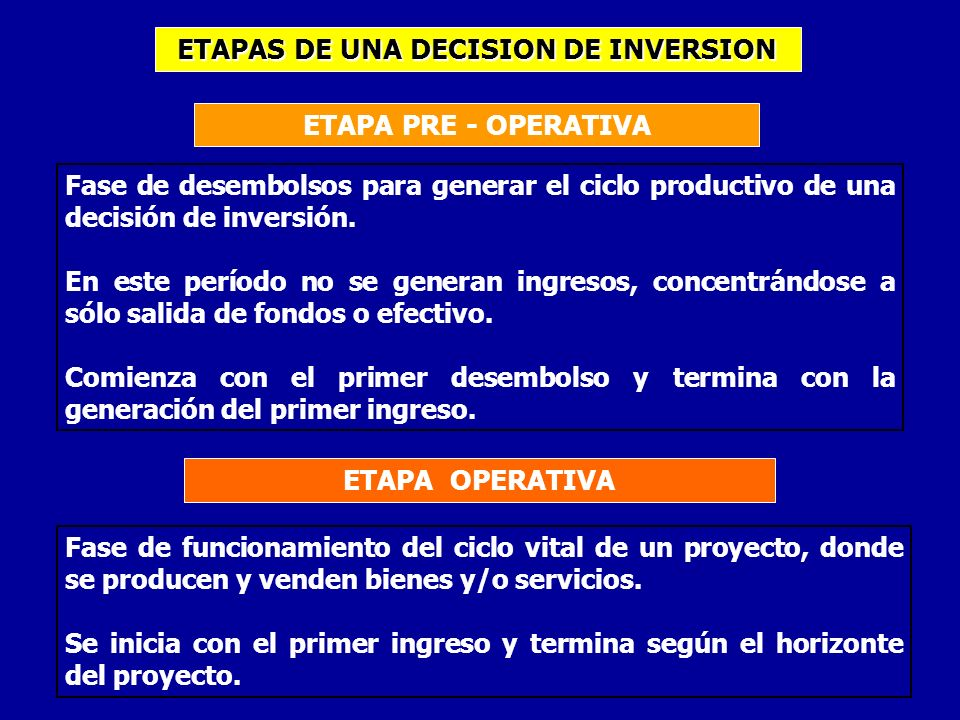 ETAPAS DE UNA DECISION DE INVERSION