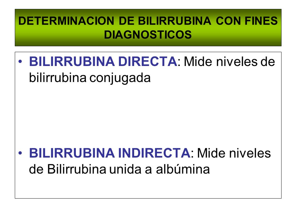 DETERMINACION DE BILIRRUBINA CON FINES DIAGNOSTICOS