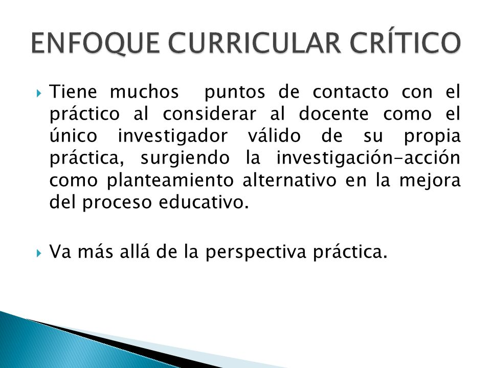 ENFOQUE CURRICULAR CRÍTICO