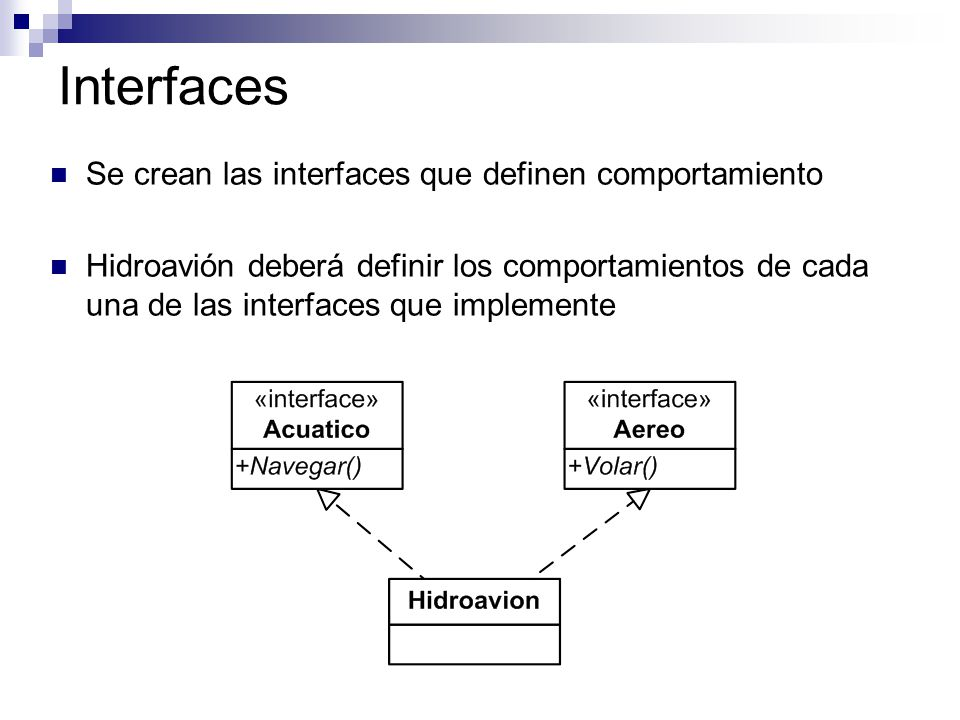 Interfaces Se crean las interfaces que definen comportamiento