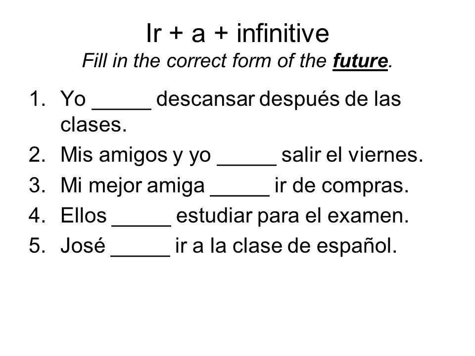 Ir + a + infinitive Fill in the correct form of the future.