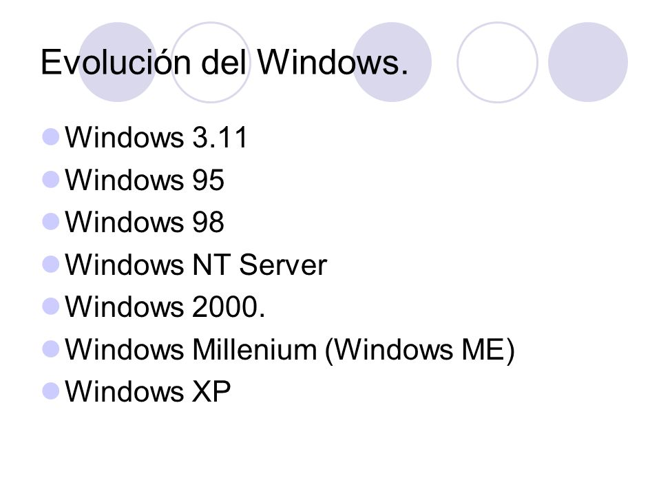 Evolución del Windows. Windows 3.11 Windows 95 Windows 98