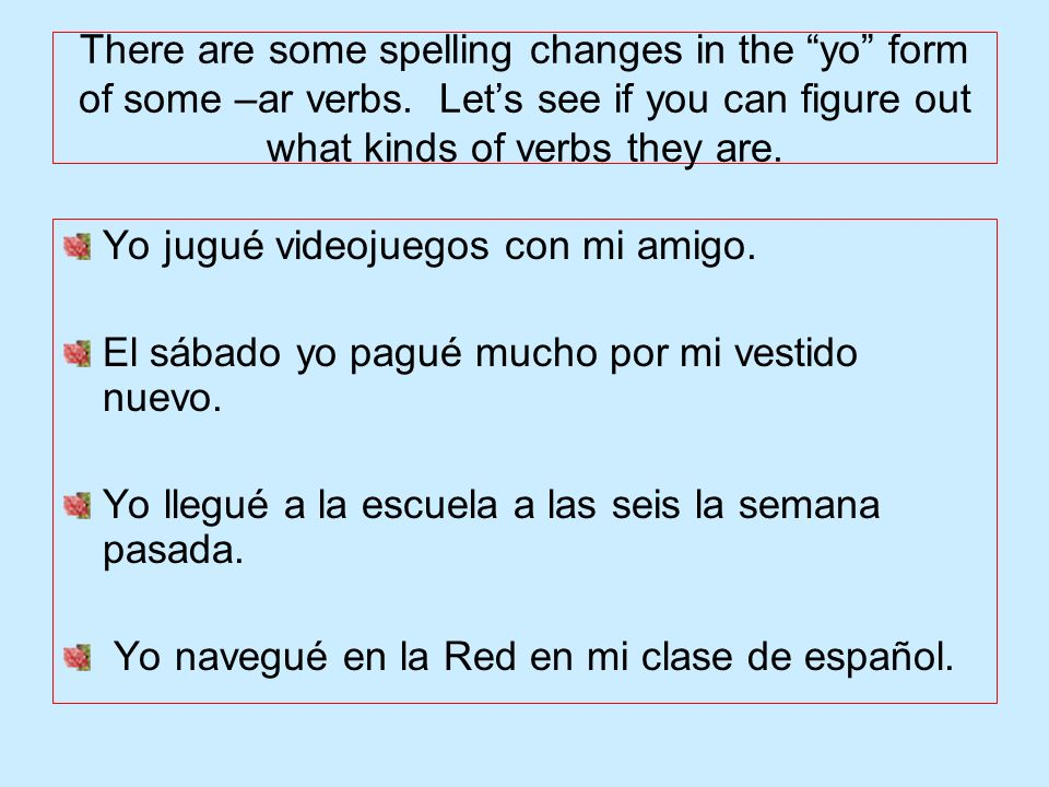 There are some spelling changes in the yo form of some –ar verbs