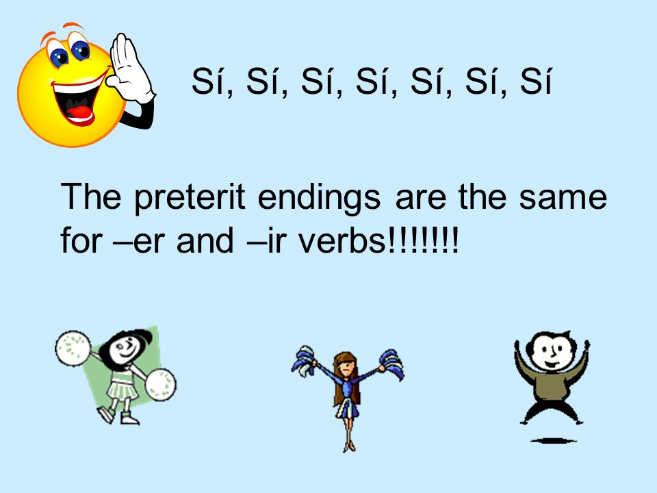 Sí, Sí, Sí, Sí, Sí, Sí, Sí The preterit endings are the same for –er and –ir verbs!!!!!!!