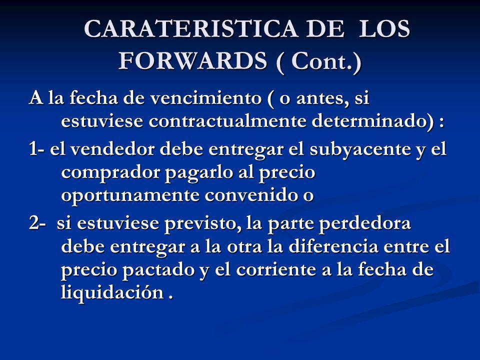 CARATERISTICA DE LOS FORWARDS ( Cont.)