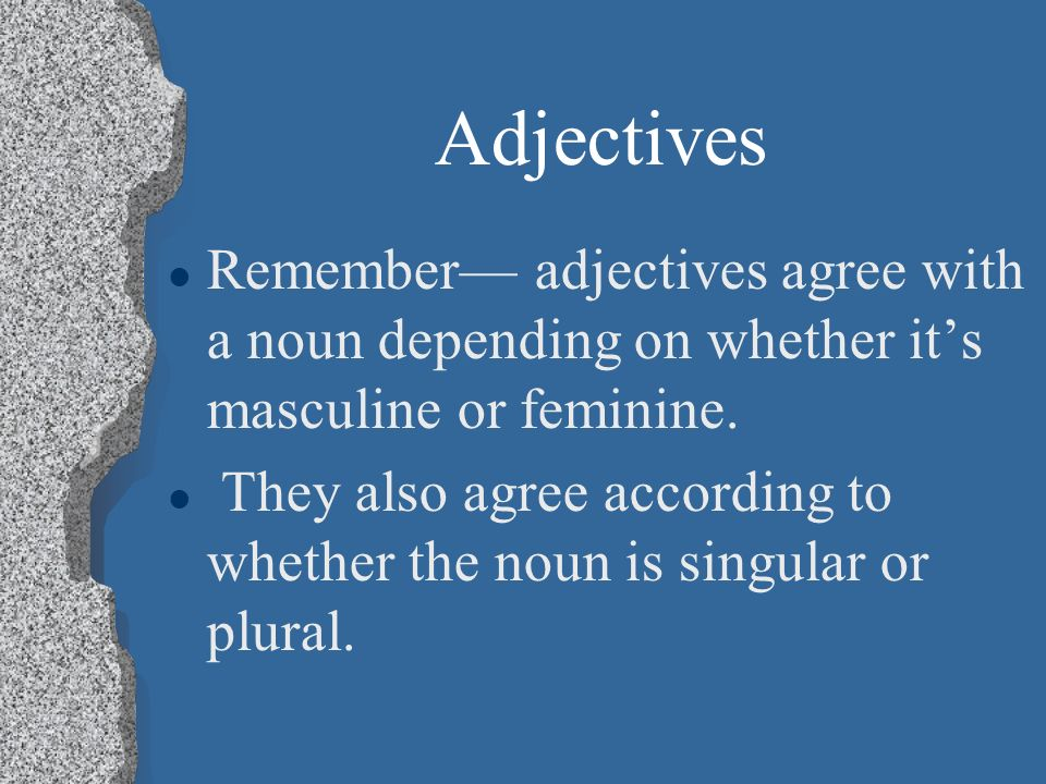 Adjectives Remember— adjectives agree with a noun depending on whether it's masculine or feminine.