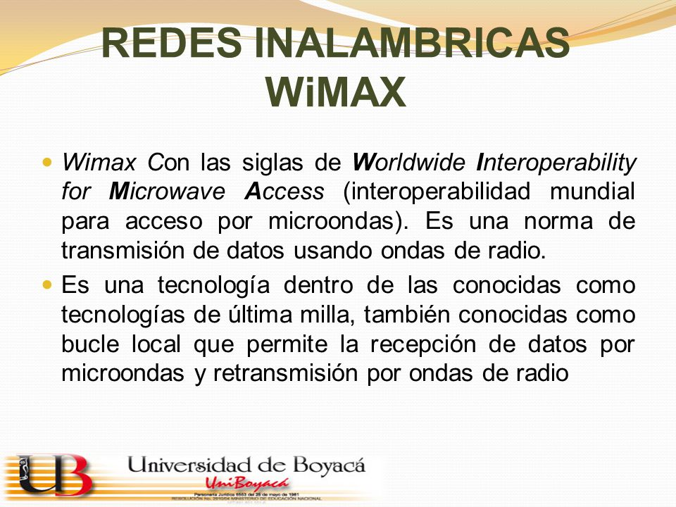 REDES INALAMBRICAS WiMAX