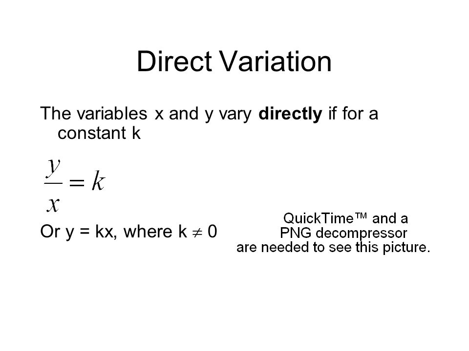 Direct Variation The variables x and y vary directly if for a constant k Or y = kx, where k  0