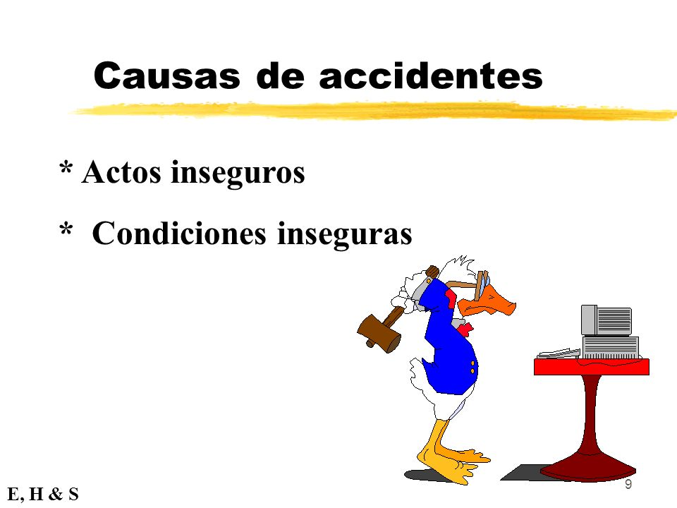 Causas de accidentes * Actos inseguros * Condiciones inseguras