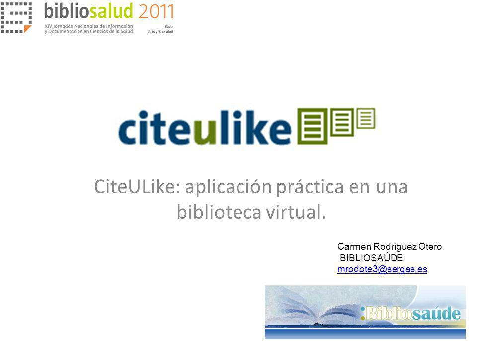 CiteULike: aplicación práctica en una biblioteca virtual.