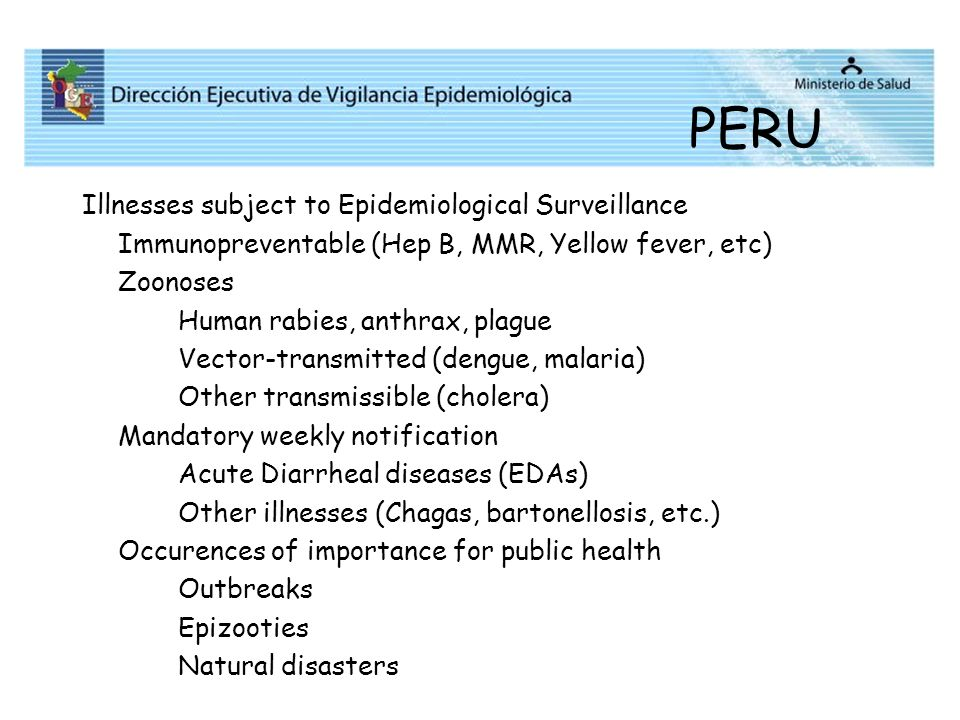 PERU Illnesses subject to Epidemiological Surveillance