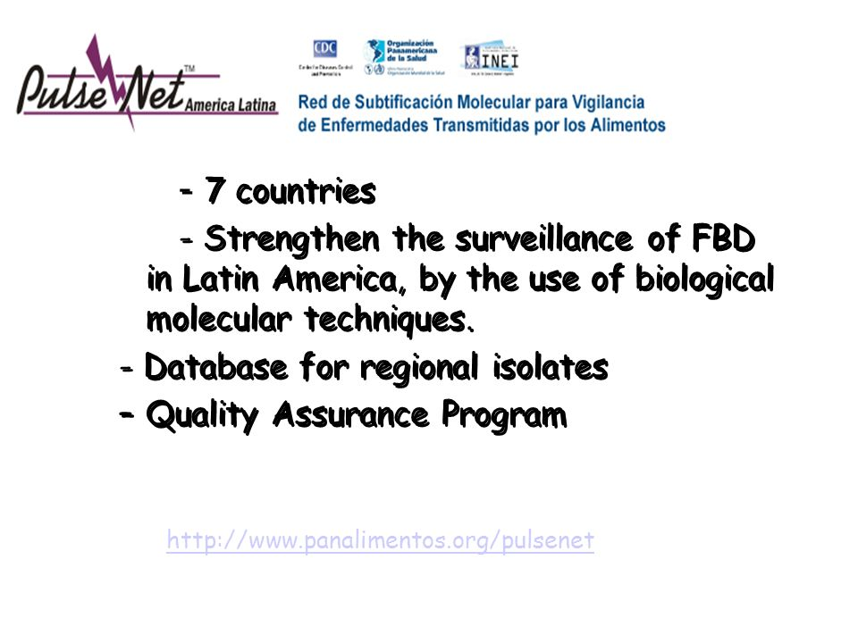 - Database for regional isolates Quality Assurance Program