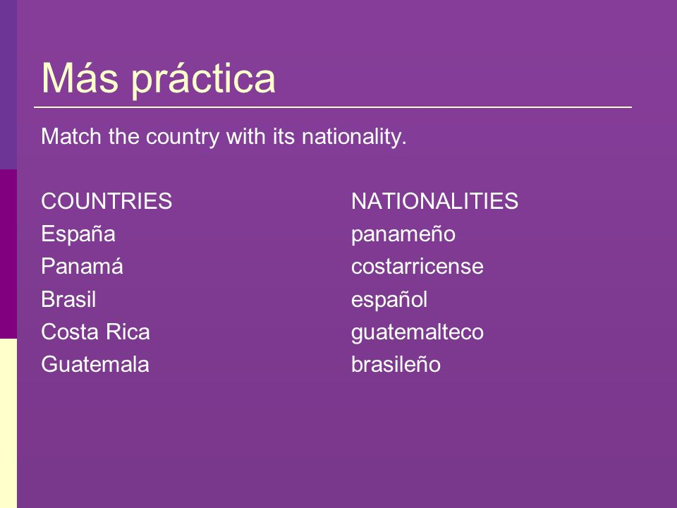 Más práctica Match the country with its nationality. COUNTRIES España