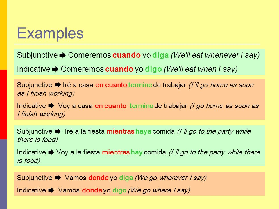 Examples Subjunctive ➨ Comeremos cuando yo diga (We ll eat whenever I say) Indicative ➨ Comeremos cuando yo digo (We ll eat when I say)