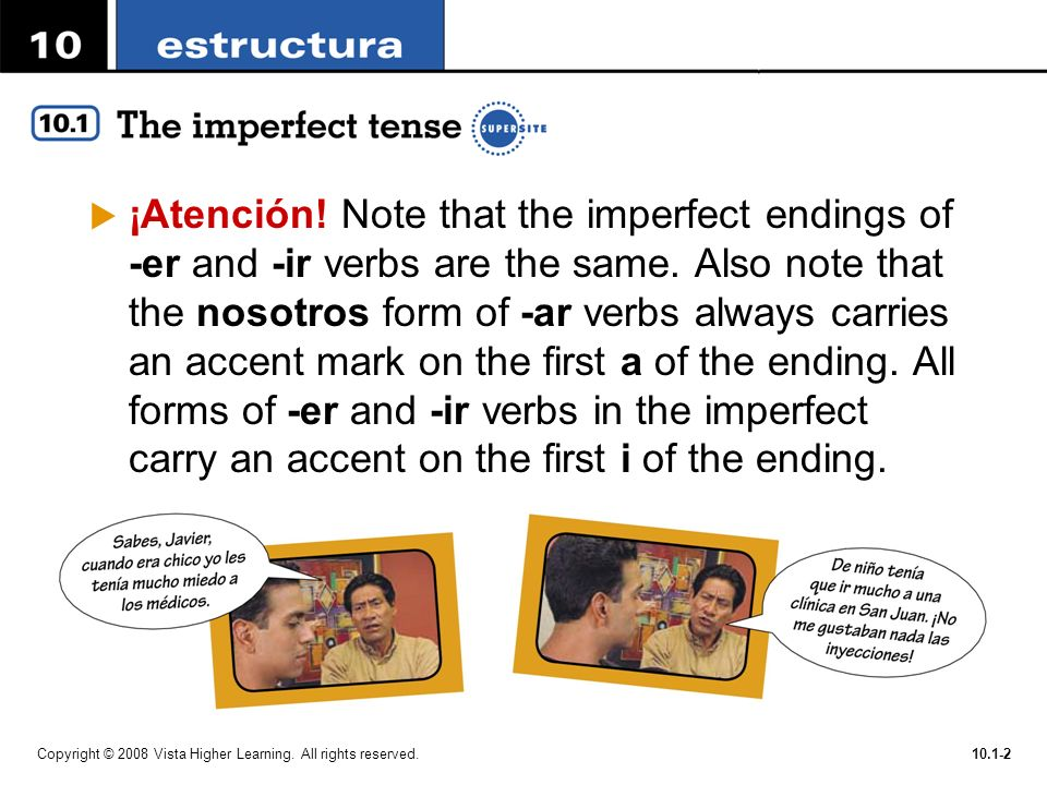 ¡Atención! Note that the imperfect endings of -er and -ir verbs are the same. Also note that the nosotros form of -ar verbs always carries an accent mark on the first a of the ending. All forms of -er and -ir verbs in the imperfect carry an accent on the first i of the ending.