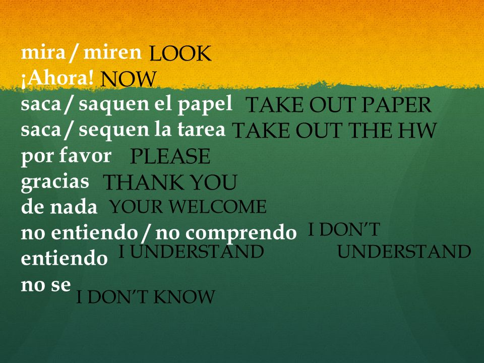 no entiendo / no comprendo entiendo no se NOW TAKE OUT PAPER
