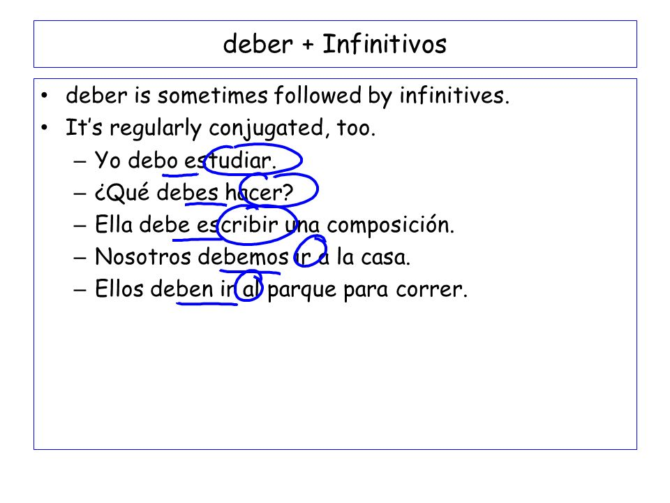 deber + Infinitivos deber is sometimes followed by infinitives.