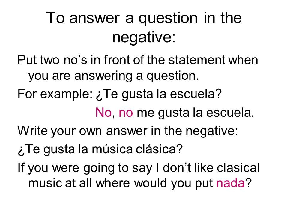To answer a question in the negative: