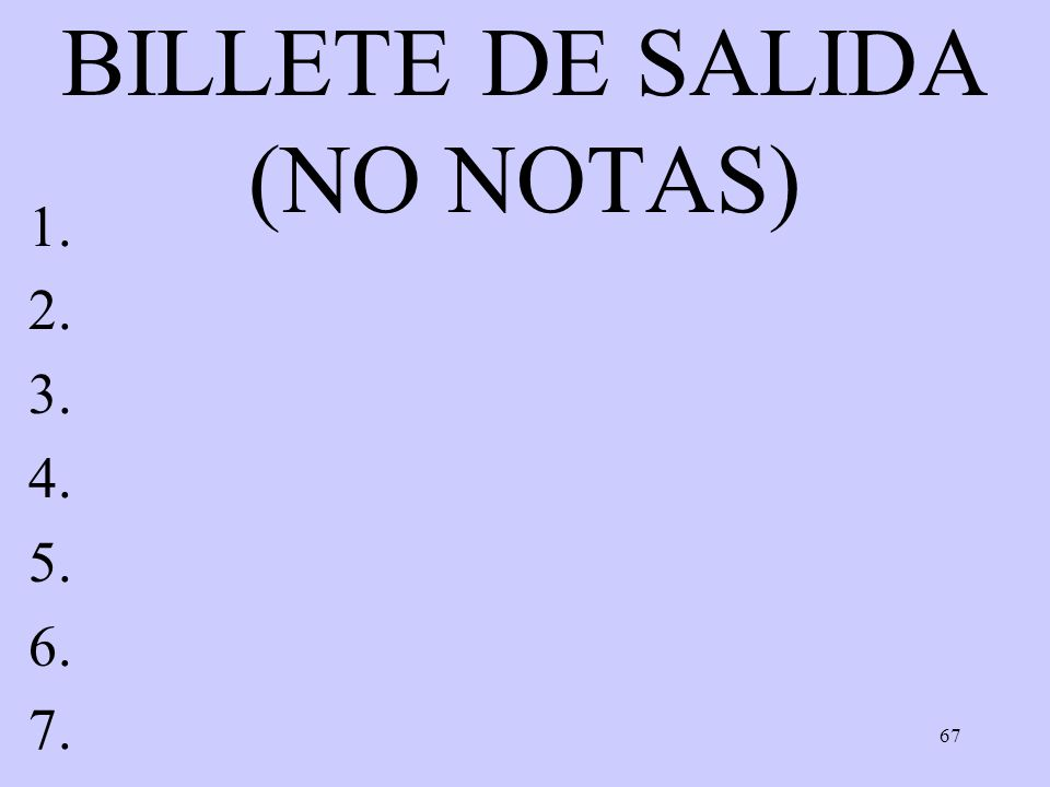 BILLETE DE SALIDA (NO NOTAS)