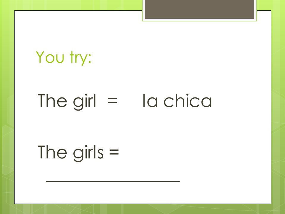 The girl = la chica The girls = _______________