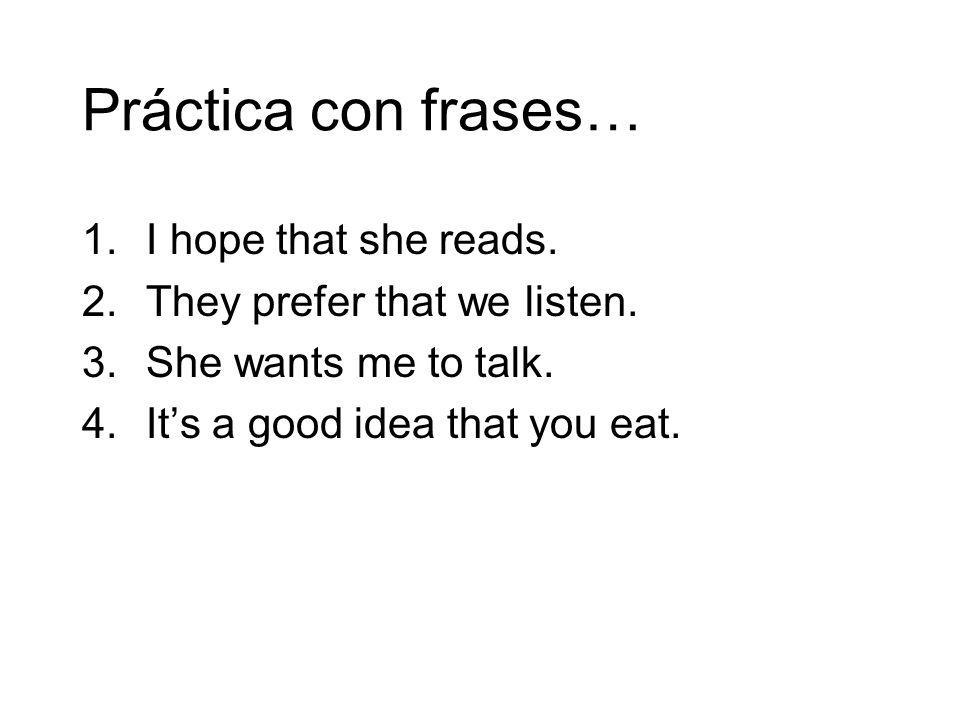Práctica con frases… I hope that she reads.