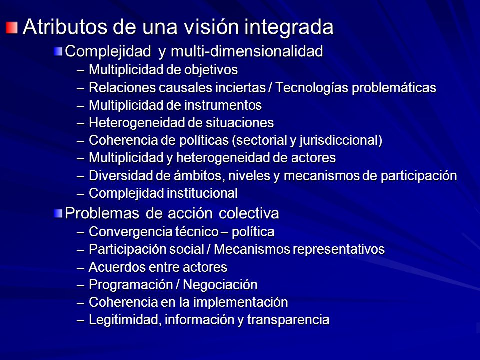 Atributos de una visión integrada