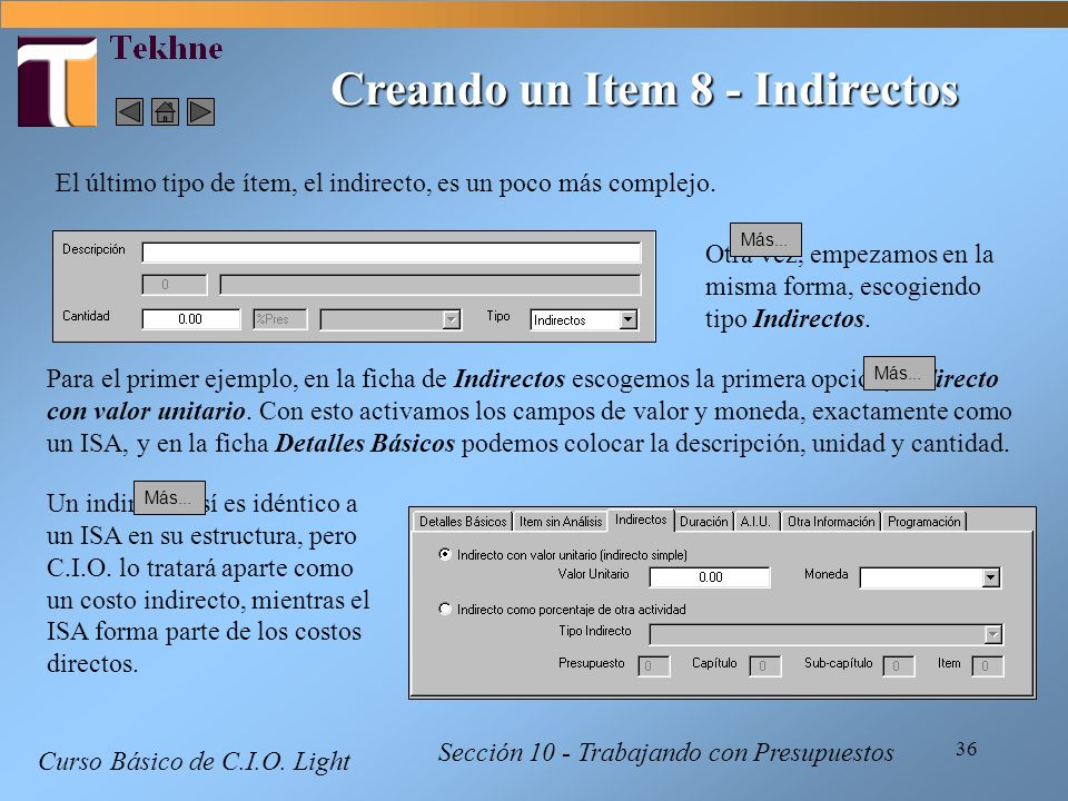Creando un Item 8 - Indirectos