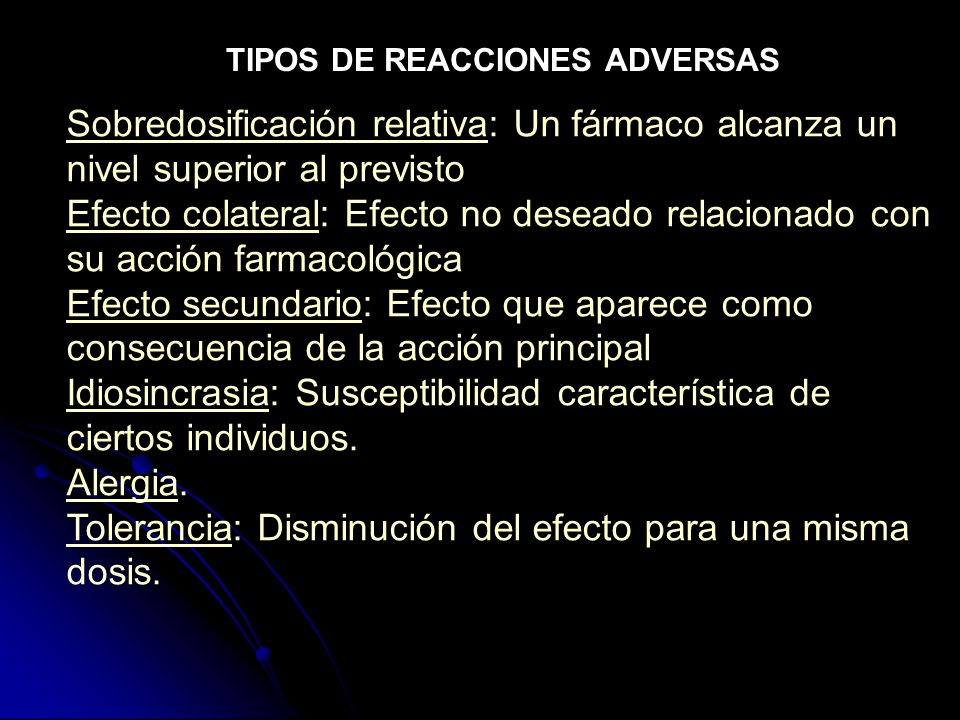 TIPOS DE REACCIONES ADVERSAS