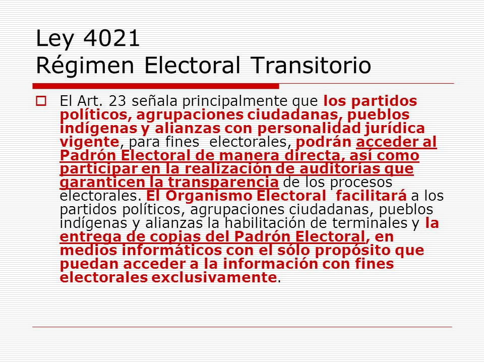 Ley 4021 Régimen Electoral Transitorio