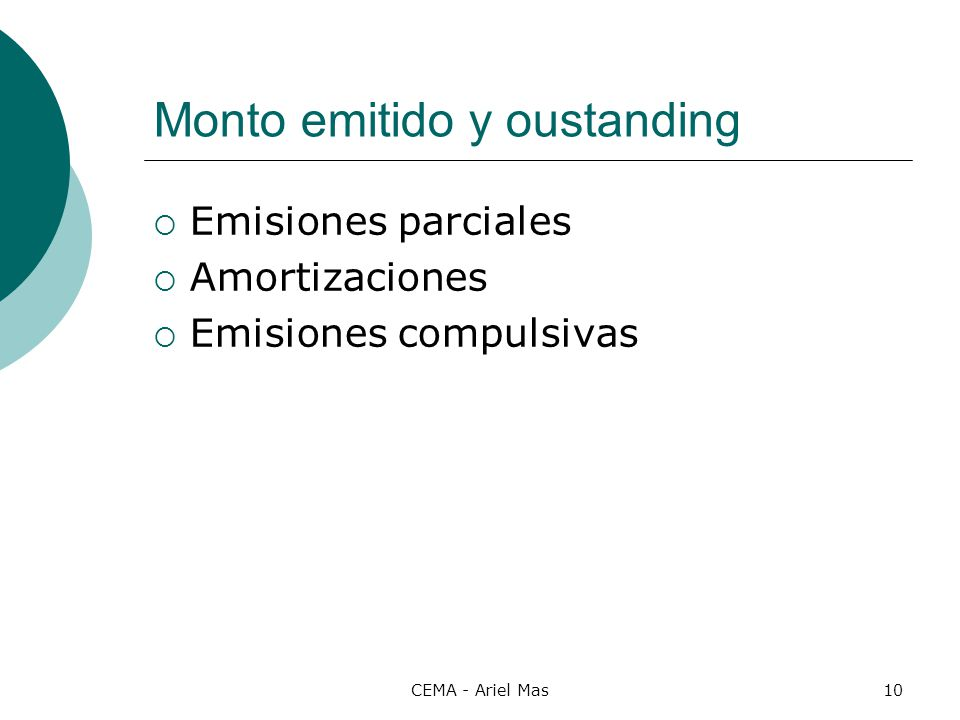 Monto emitido y oustanding