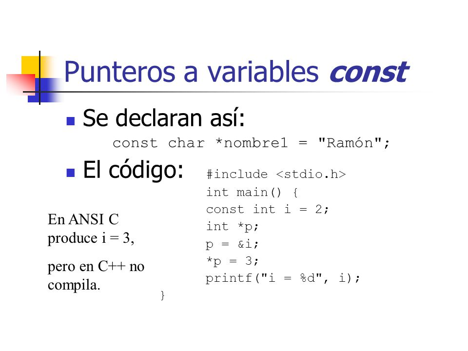 Punteros a variables const