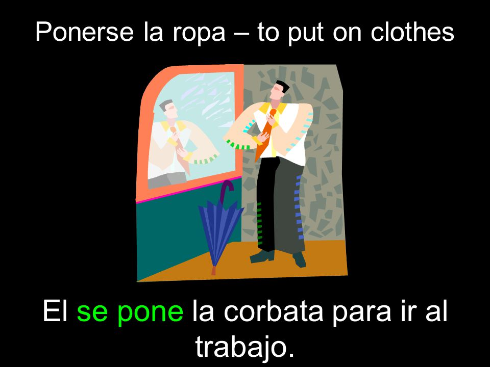 Ponerse la ropa – to put on clothes