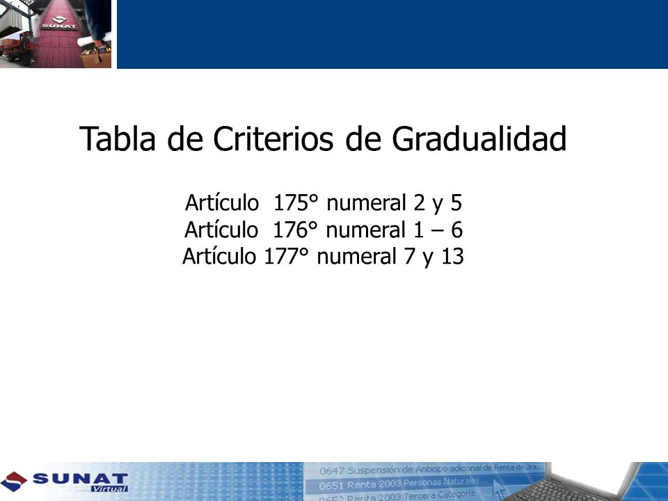 Tabla de Criterios de Gradualidad