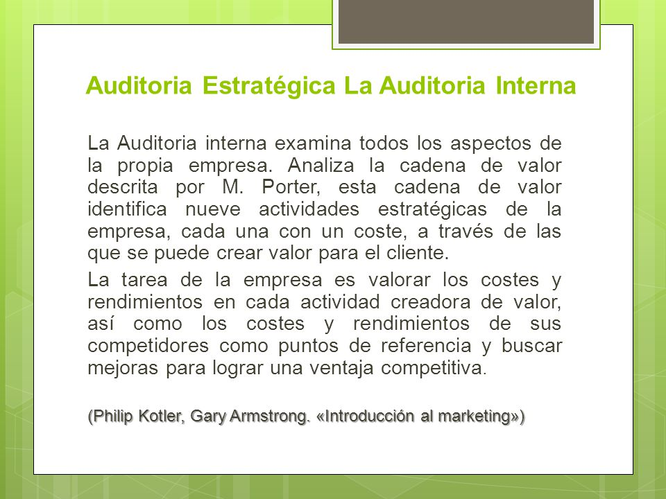 Auditoria Estratégica La Auditoria Interna