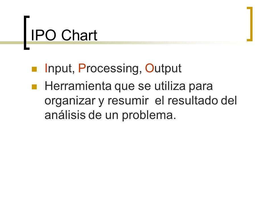 IPO Chart Input, Processing, Output