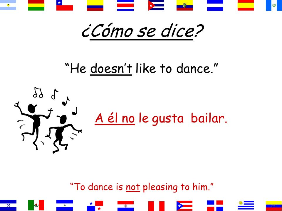 ¿Cómo se dice He doesn't like to dance. A él no le gusta bailar.
