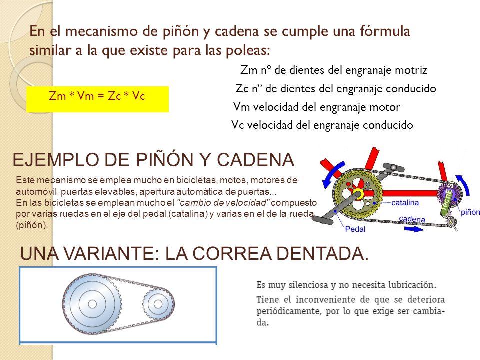 Sistema de engranaje con cadena formula