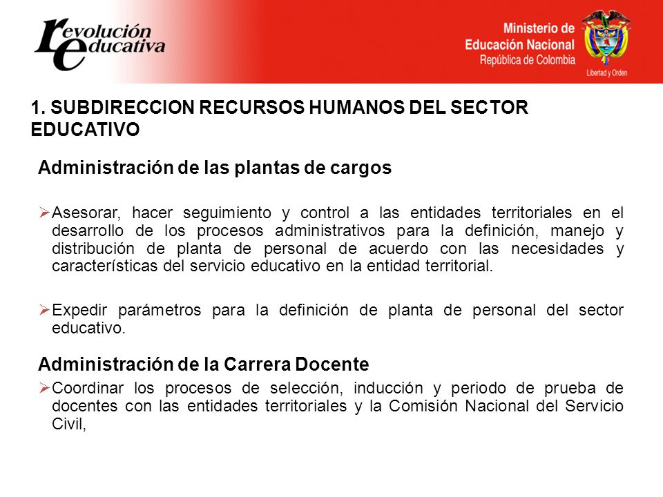 1. SUBDIRECCION RECURSOS HUMANOS DEL SECTOR EDUCATIVO