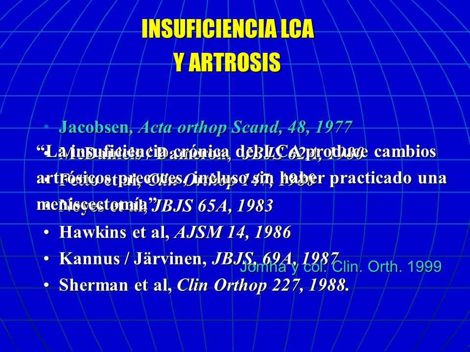 Y ARTROSIS INSUFICIENCIA LCA Jacobsen, Acta orthop Scand, 48, 1977