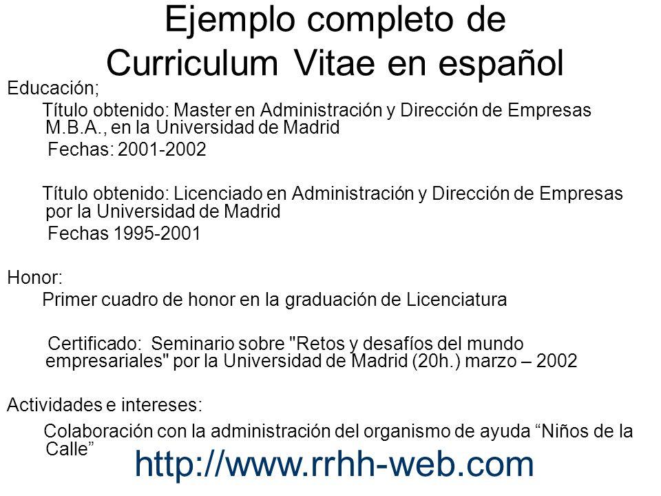 Cómo elaborar un currículum vitae en español y en inglés? - ppt ...