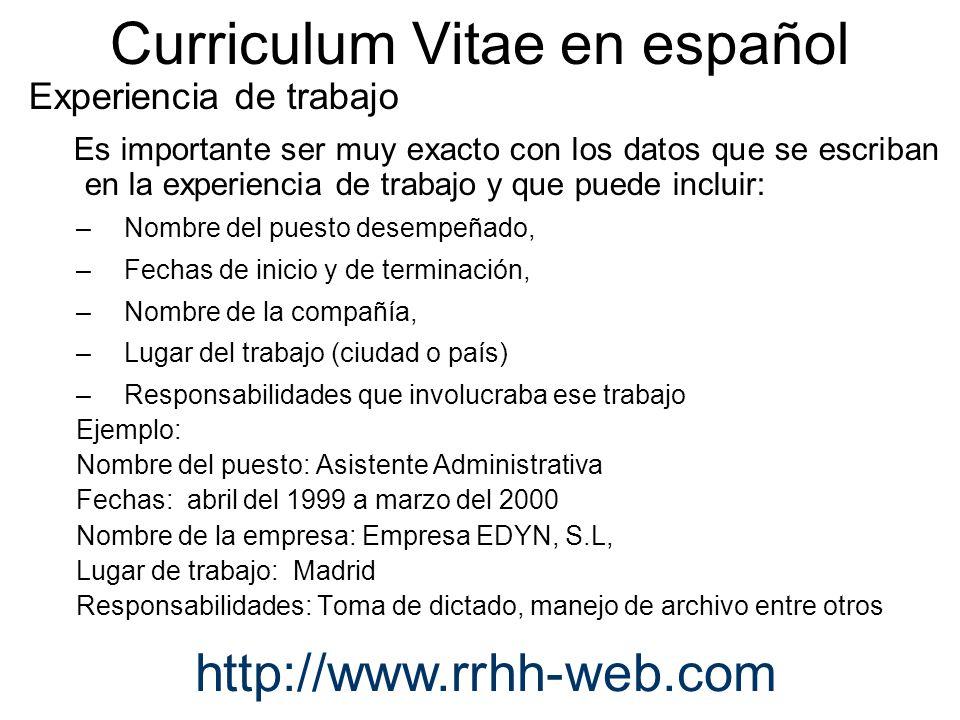 Como Elaborar Un Curriculum Vitae En Espanol Y En Ingles Ppt
